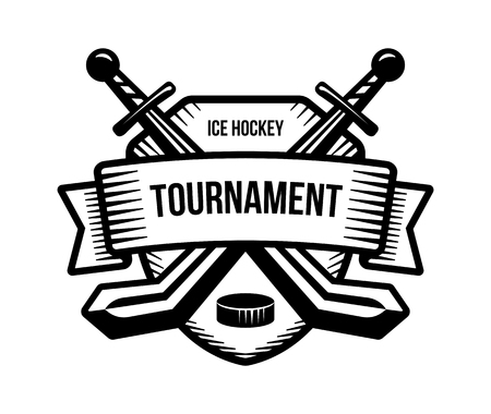 Ice hockey vector logo. Winter team sport tournament. Knight, pirate, buccaneer, warrior sword mascot. Black and white badge, shirt design.