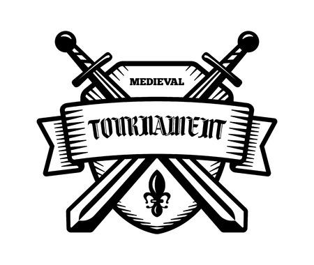tourney: Medieval tournament fight sport vector logo. Knight, pirate, buccaneer, warrior sword mascot. Black and white badge, shirt design. Illustration