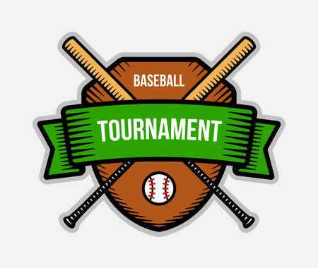 tourney: Baseball vector logo. Summer team sport tournament. Color badge, shirt mascot design. Illustration