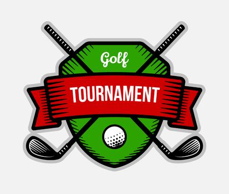 tourney: Golf vector logo. Summer individual sport tournament. Color badge, shirt mascot design. Illustration