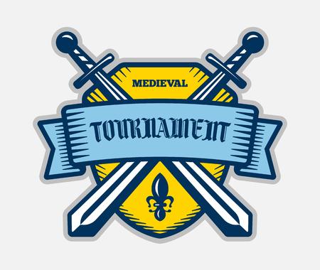 tourney: Medieval tournament fight sport vector logo. Knight, pirate, buccaneer, warrior sword mascot. Color badge, shirt design. Illustration