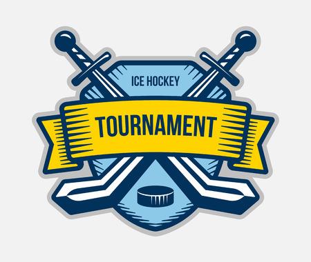 tourney: Ice hockey vector logo. Winter team sport tournament. Knight, pirate, buccaneer, warrior sword mascot. Color badge, shirt design.