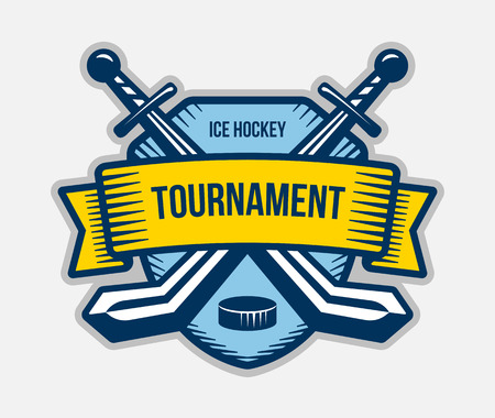 Ice hockey vector logo. Winter team sport tournament. Knight, pirate, buccaneer, warrior sword mascot. Color badge, shirt design.