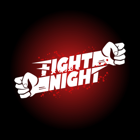 Fight night mma, wrestling, fist boxing championship for the belt event poster logo template with lettering.