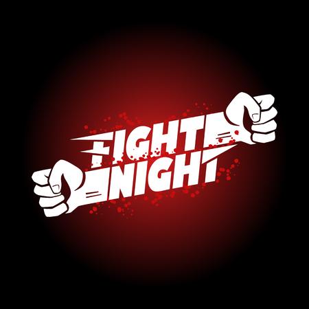 Combatti mma notte, wrestling, campionato di boxe pugno per l'evento nastro poster modello logo con scritta. Archivio Fotografico - 64106784