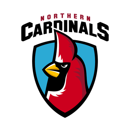 tourney: Northern cardinal sport logo angry bird team shield mascot with lettering.
