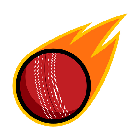Cricket sport comet fire tail flying throw logo