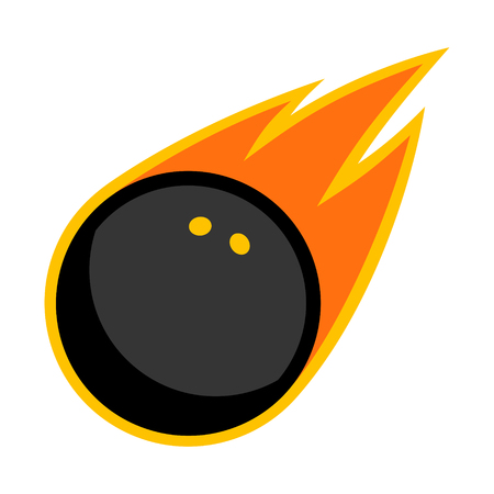 Squash sport rubber ball comet fire tail flying logo.