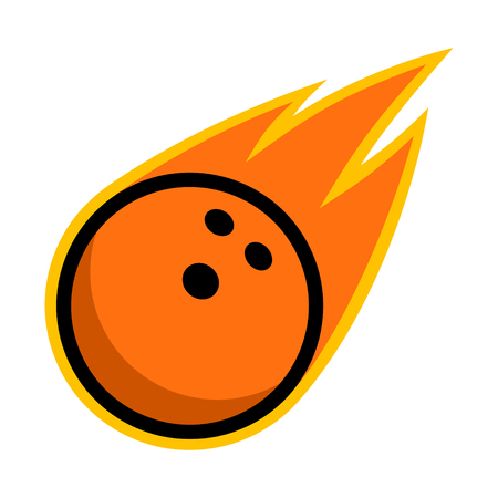 Bowling ball sport comet fire tail flying strike logo Illustration