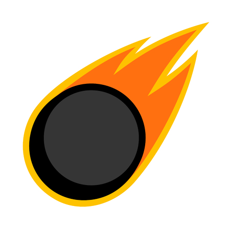 Ice hockey winter sport comet fire tail flying puck