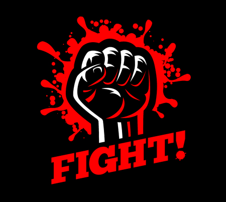 Fist fight with red blood spatter emblem illustration isolated on dark black background
