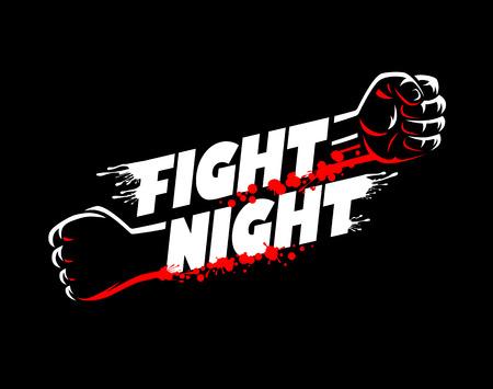 Combatti il ??wrestling di notte, il campionato di pugilato del pugno per il modello di logo del manifesto di evento della cinghia con iscrizione