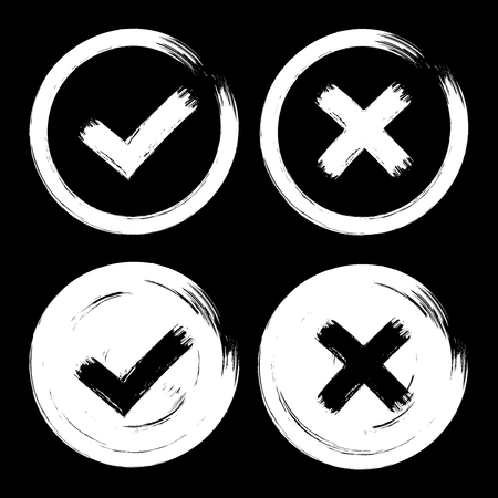 Set of white check mark icons on dark black background. Grunge paint brush hand drawn style. Isolated cut out ok, yes, no vintage signs.