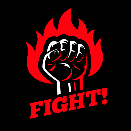 Clenched raised fist in fire on dark black background. Protest and fight strike poster symbol concept Stock Illustratie