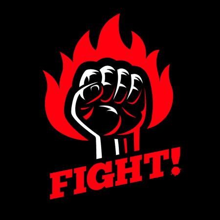 Geballte erhobene Faust im Feuer auf dunklem Schwarzhintergrund. Protestieren Sie und kämpfen Sie Streusplakat-Symbolkonzept