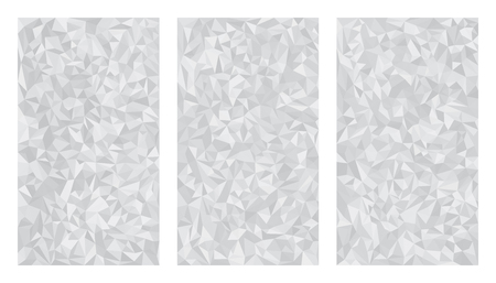 Set of three low polygonal grayscale aluminum metal foil isolated backgrounds