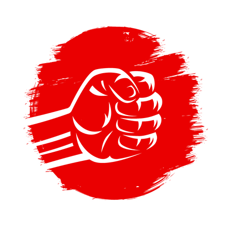 Clenched fist vector illustration on red brush stroke circle hand drawn paint japan flag grunge style. Mixed martial arts, karate fighting, boxing, judo, sumo wrestling. Stock Illustratie