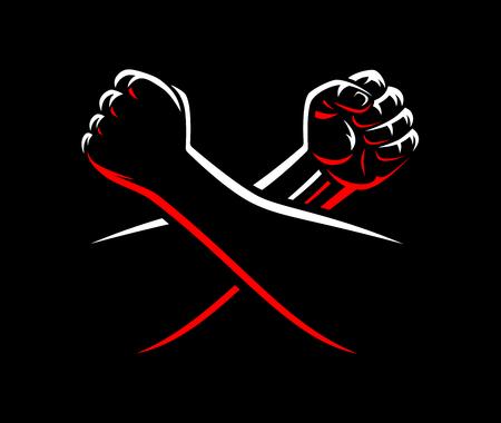 Vector gebalde vuisten vechten MMA, worstelen, kickboksen, karate sport nacht kooi Toon illustratie op donkere achtergrond