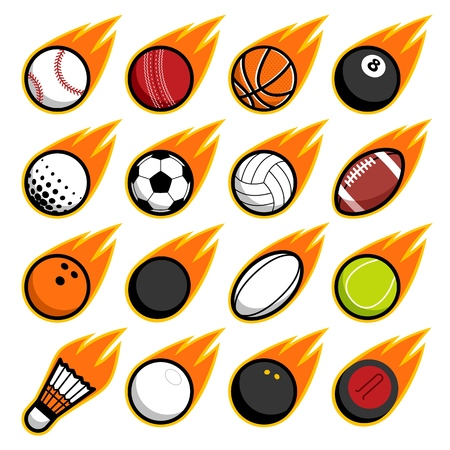 Vector fire flying play sport balls logo icon isolated objects set on white background