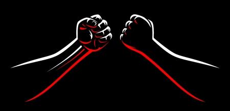 Gebalde mma vecht tegen stootvuisten teamplaat. De mannelijke wapens van de machtsvechtsporten die op zwarte donkere achtergrond worden geïsoleerd. Karate, boksen, worstelende jager vierkant af