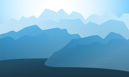 Vector landscape mountain peak horizon travel illustration background. Vacation and extreme outdoor sport recreation morning or night day time painting concept design.