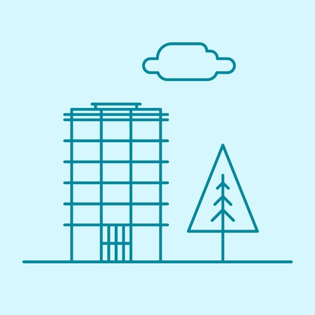 Vector city thin line office building with tree and cloud. Town business real estate apartment concept icon design. Isolated architecture construction house illustration. Ilustração