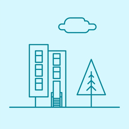 Vector city thin line office building with tree and cloud. Town business real estate apartment concept icon design. Isolated architecture construction house illustration. 向量圖像