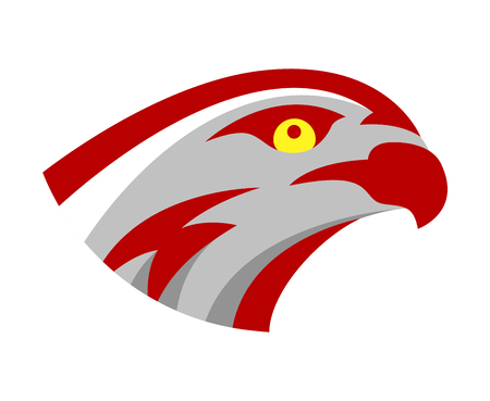 Vector falcon or hawk head sport logo mascot design. American wild eagle abstract bird beak symbol sign concept.
