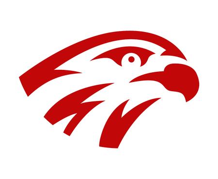 Vector falcon or hawk head sport logo mascot design. American wild eagle abstract beak symbol sign concept.