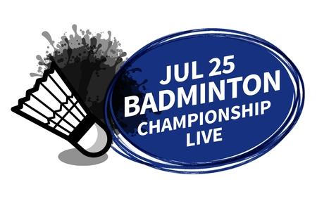 Vector badminton racket sport shuttlecock scoreboard spotlight background place for copy text ad. Banner, flyer, poster, TV concept design brush doodle flat style isolated illustration. 向量圖像
