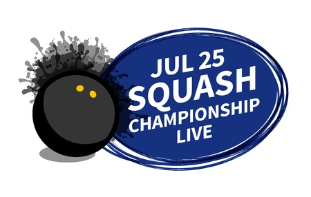 Vector squash racket sport scoreboard spotlight background place for copy text ad. Banner, flyer, poster, TV concept design brush doodle flat style isolated illustration.