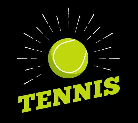 Vector tennis sport ball icon sun burtst print hand drawn vintage line art design