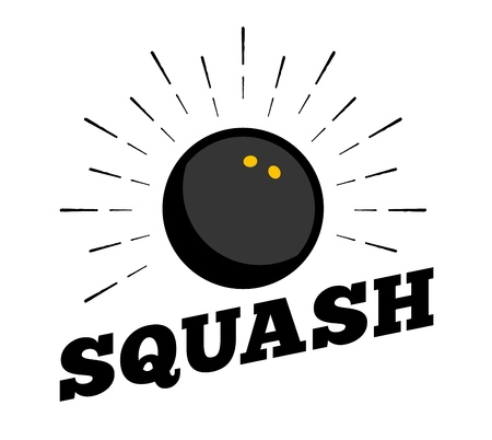 Icône de balle de sport de squash de vecteur soleil burtst imprimer design art vintage dessiné à la main Vecteurs