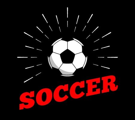 Vector soccer football sport ball  icon sun burtst print hand drawn vintage line art design