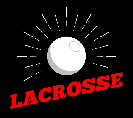 Vector lacrosse sport ball logo  sun burtst print hand drawn vintage line art design