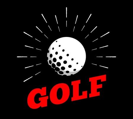Vector golf sport ball icon sun burtst print hand drawn vintage line art design