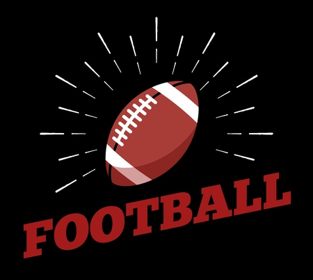 Vector american football sport ball  icon sun burtst print hand drawn vintage line art design 向量圖像