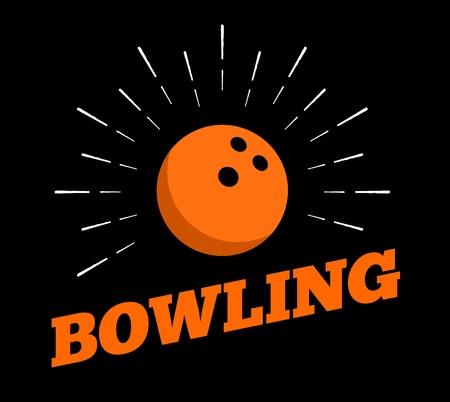 Vector bowling sport ball icon sun burtst print hand drawn vintage line art design