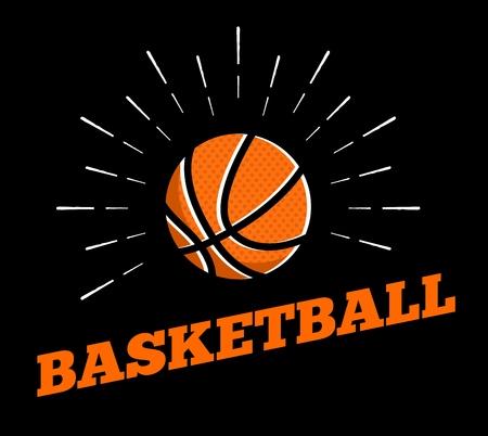 Vector basketball sport ball  icon sun burtst print hand drawn vintage line art design