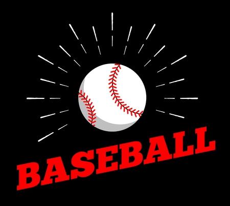 Vector baseball sport ball  icon sun burtst print hand drawn vintage line art design