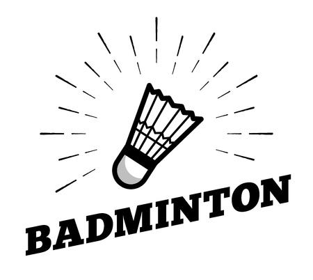 Vector badminton sport shuttle cock ball icon sun burtst print hand drawn vintage line art design