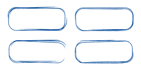 Set of hand drawn grunge style dark blue vintage ball pen rounded rectangle scribbles on white paper background. Text selection abstract note frame concept