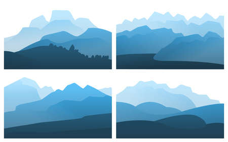 Vector landscape mountain peak horizon travel illustration background set. Vacation and extreme outdoor sport recreation morning or night day time painting concept design.