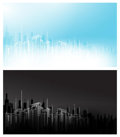Modern vector night day white black light dark city horizon scape sky scraper background. Architectural business building copy template black evening design time set.