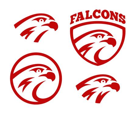 Vector falcon or hawk head sport logo mascot design set. American wild eagle abstract beak symbol sign concept. 向量圖像