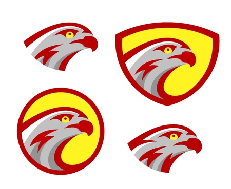 Vector falcon or hawk head sport logo mascot design set. American wild eagle abstract bird beak symbol sign concept.