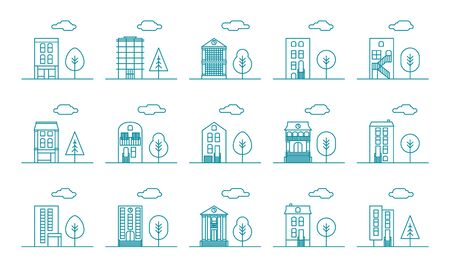 City neighborhood office business building with tree and cloud flat line cartoon style vector set. Urban house with clock, column collection isolated on white background.