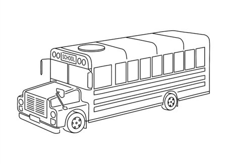 Kids school bus outline isometric 3d view grungy line art illustration. Isolated black sign symbol on white background. Children road trip back to kindergarten hand drawn sketch vehicle object.