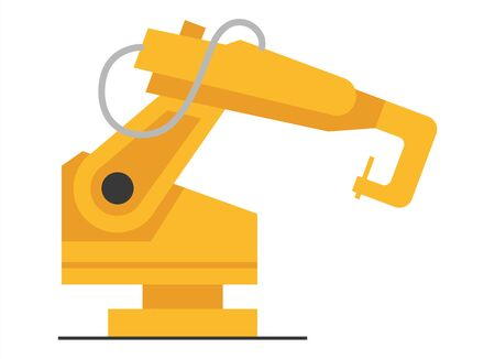 Vector flat robot arm welding at factory line. Modern plant tech manipulator illustration. Isolated futuristic industrial mechanical hand drawing on white background.