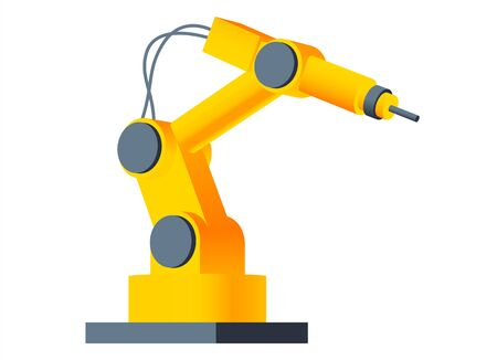 Vector 3D robot arm welding at factory line. Modern plant tech manipulator illustration. Isolated futuristic industrial mechanical hand drawing on white background.